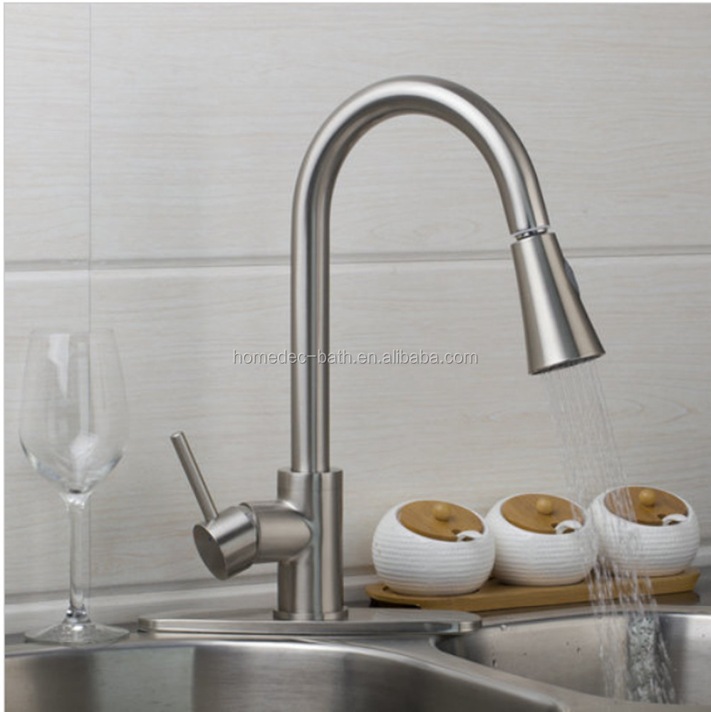 Factory Directly Pull Out Down Kitchen Faucet Brushed Nickel Swivel 360 Deck Mounted Sink Faucets