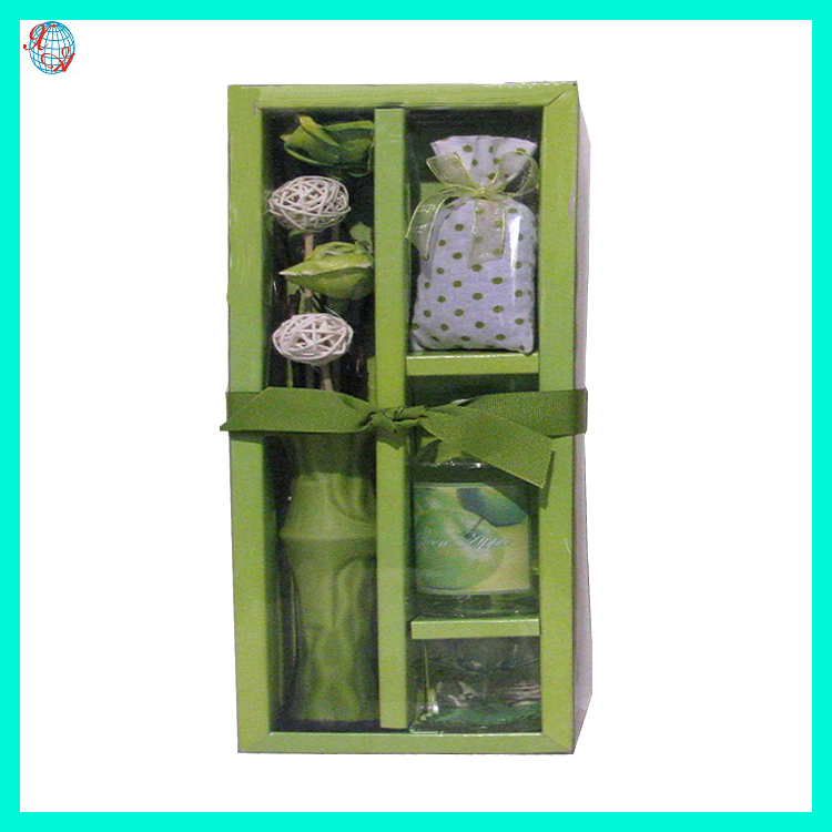 Ceramic Flower Glass Bottle Candle Reed Diffuser With Potpourri Bag