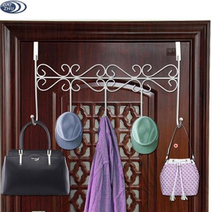 Over the Door 5 Hanger Rack Decorative Metal Hanger Holder for Home Office Use, White