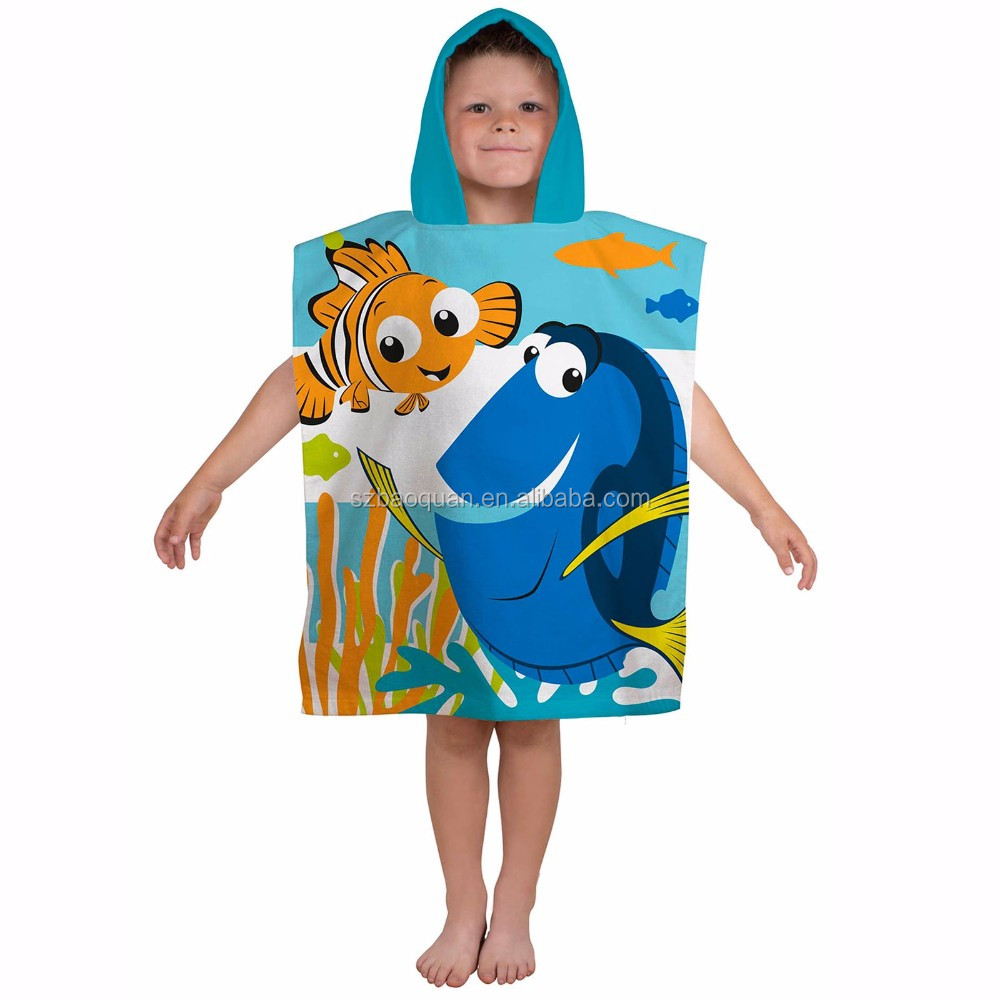 100% cotton reavtive printing cute children poncho baby hooded towel