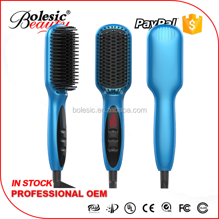 Free Sample New Product Paypal accepted Personal Hair Straightening Comb ceramic brush hair straightener