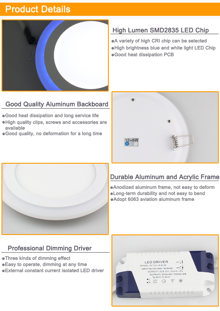 Color Changing Double Color Blue to Warm White 3000K 6500K 3W 6W 12W 18W 85V 120V 220V 265V LED Panel Lights , LPL-COLOR