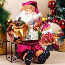 High Quality 35cm Christmas Sitting Santa Claus Doll Figurine Toy Home Room Ornament Decoration Decor gift