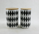 Bamboo cover ceramic sealing storage canisters black and white