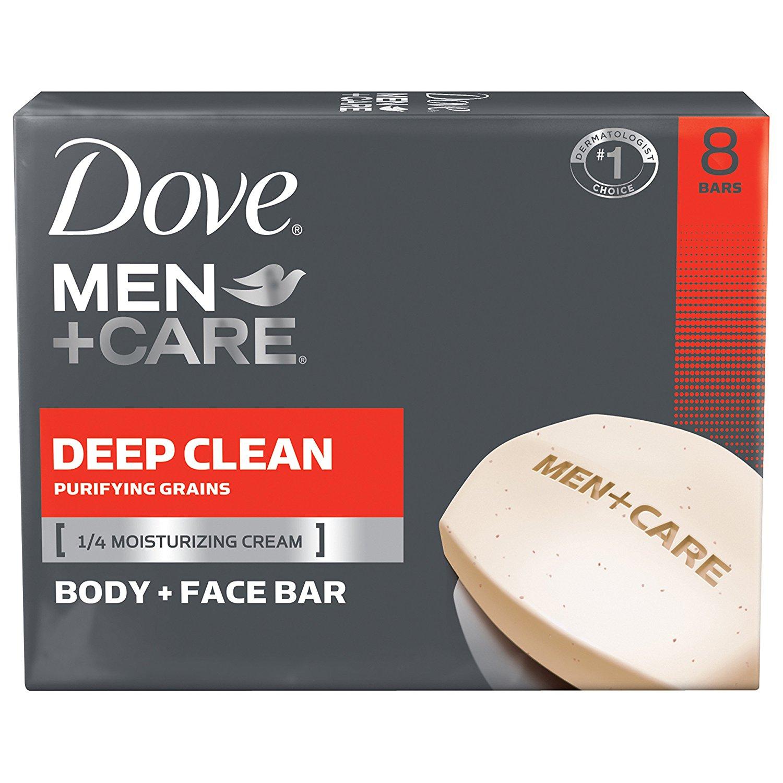 Dove Men+Care Body and Face Bar, Deep Clean 4 oz, 8 Bar