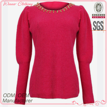 Hot selling fancy design rose color puff long sleeve beaded neck cashmere lady sweater in knit