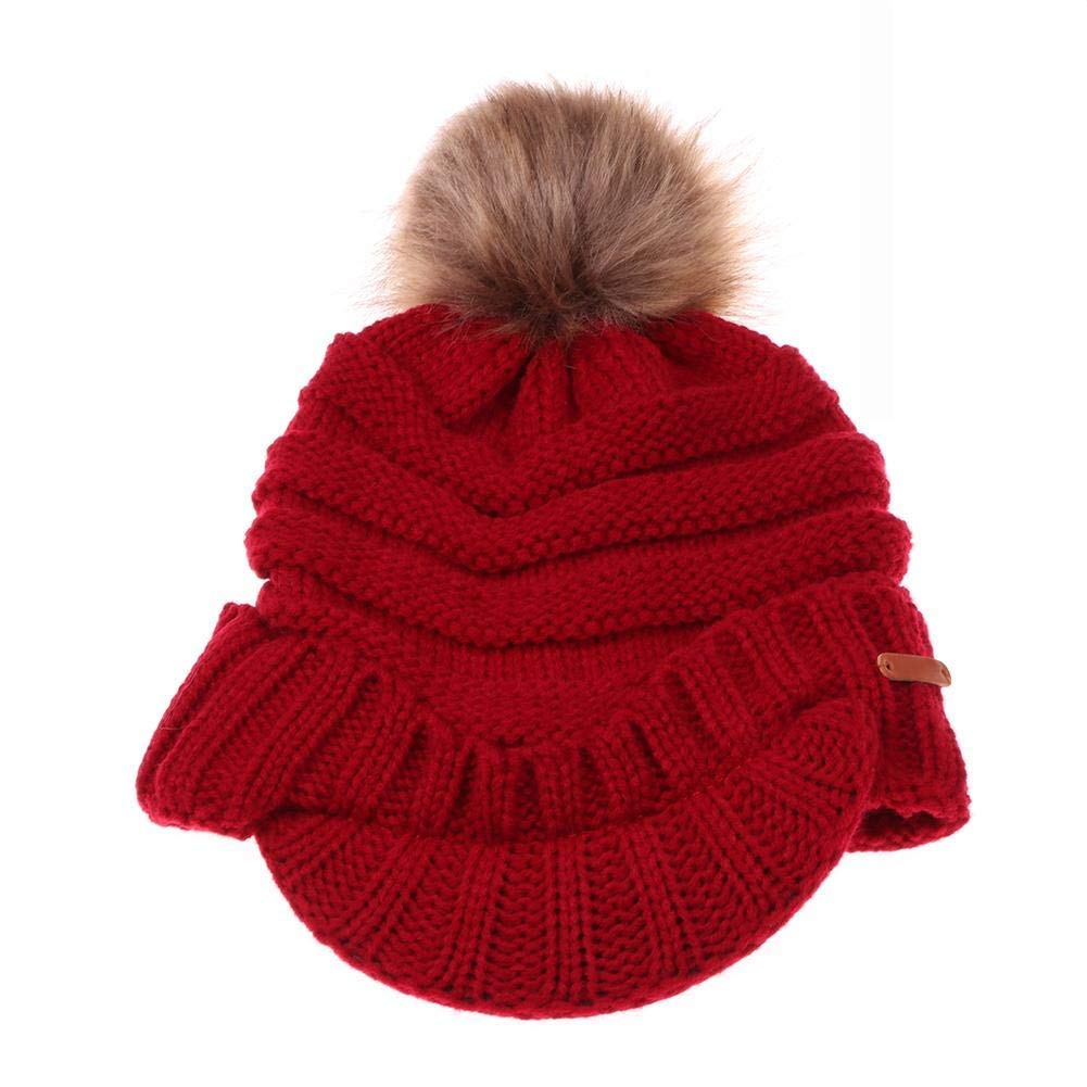 3b03161e8af Get Quotations · HighPlus Fashion Women Stripe Winter Warm Hat Pompom  Peaked Knitted Cap Casual Gift