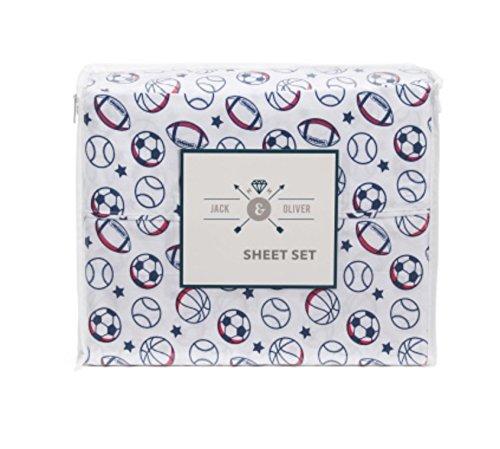 Kids Sports Balls (red white & blue) Sheet Set - TWIN SIZE (football soccer, baseball, basketball)