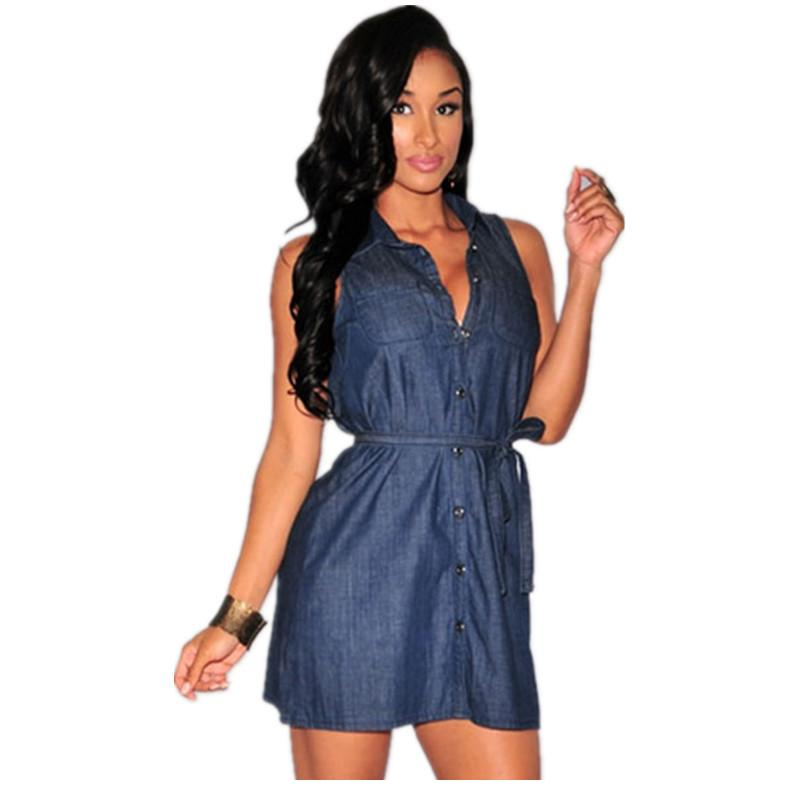 4bd63177e734 Get Quotations · New Arrivals 2015 Women Summer Fashion Casual Dresses  Indigo/Black Denim Button Down Collared Belted