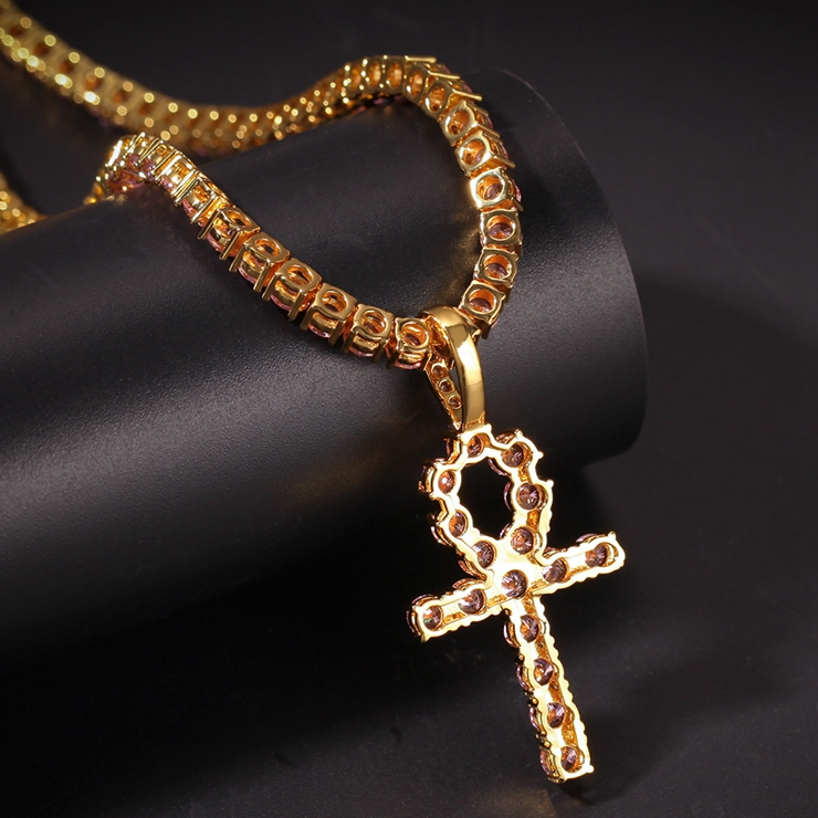 Bling Custom 4mm Pink Cz Diamond Tennis Chain Necklace With Ankh Pendant