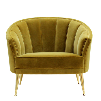 Noble Luxury Gold Velvet Metal Foot Club Chair wooden sofa NO,M35