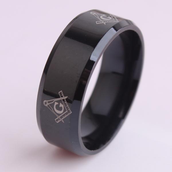 Black color Free mason 316L Stainless Steel finger rings for men wholesale