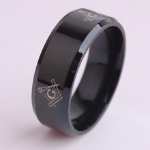 Black color Free mason 316L Stainless Steel finger rings for men wholesale Free shipping