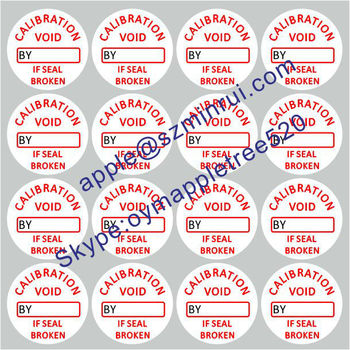 Custom Tamper Label Qc Sheets Seal Calibration Void If
