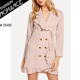 Double Button Ruffle Trim Blazer Dress Women