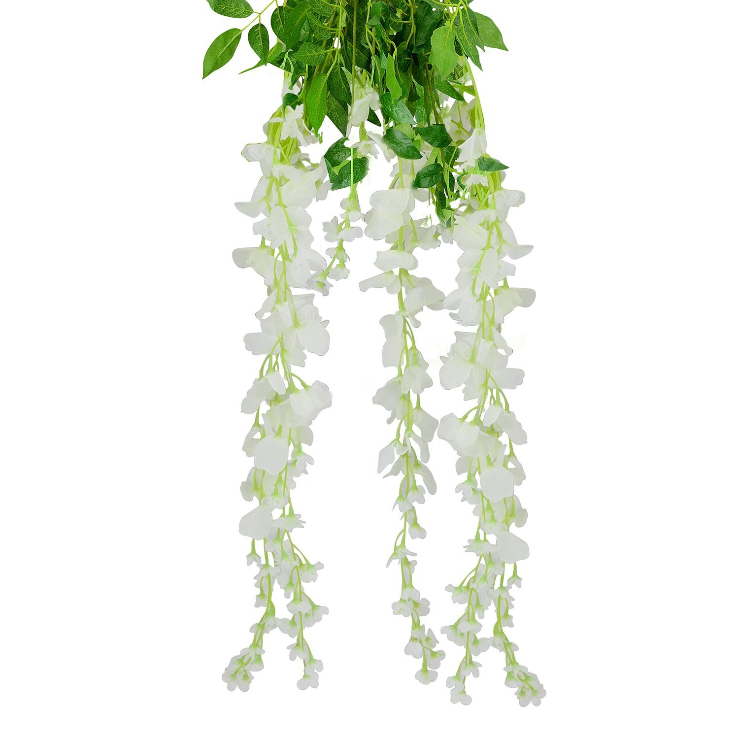 Ttoyouu Set Of 4 Artificial Fake Wisteria Vine Ratta Hanging Garland Silk Flowers String Home Party
