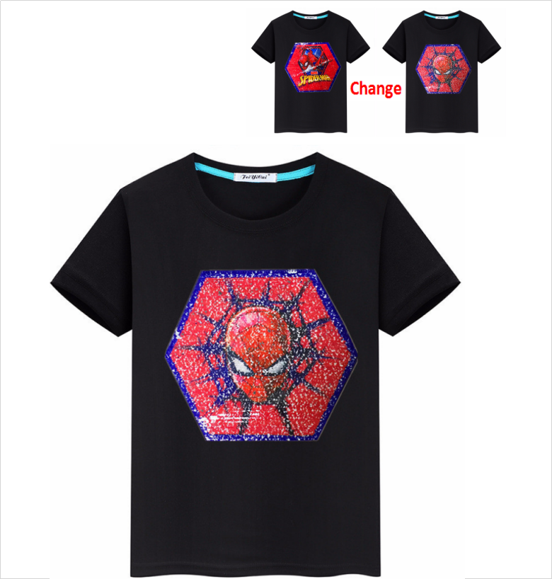 Little Boy Paillettes Spider Man T-Shirt In Cotone Girocollo Manica Corta Tees Top Vibrazione Paillettes Spiderman T shirt