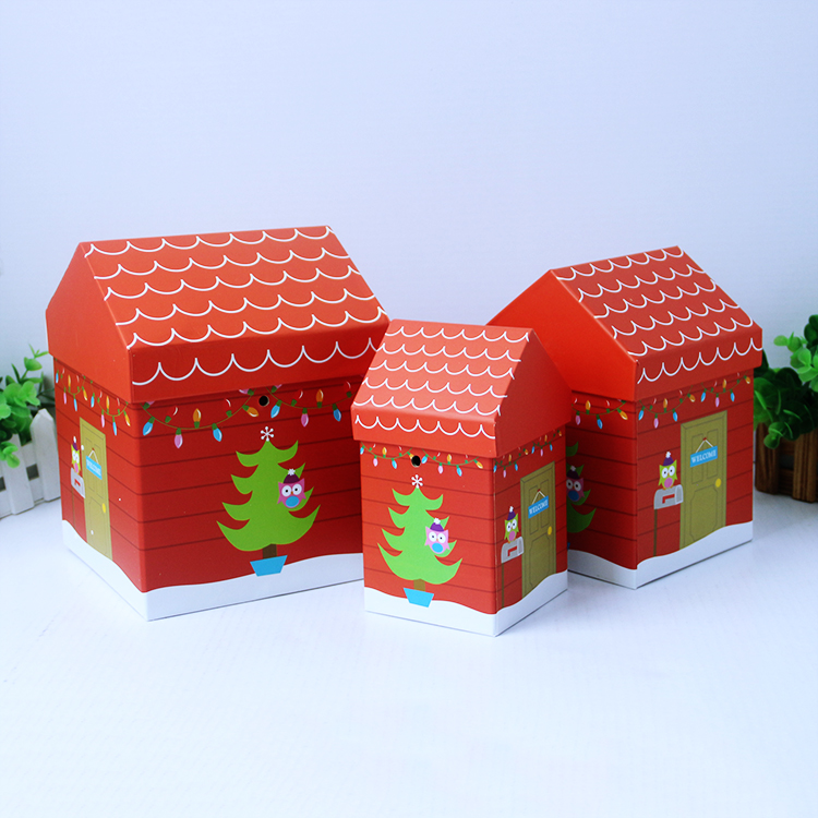 House Shaped Cardboard Paper Gift Box/Christmas Gift Packing Box/Special shape paper box packaging for storage