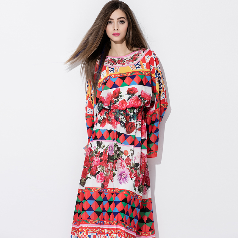 Runway Brand <strong>Dress</strong> 2017 Spring Royal Vitage Elegant Rose Print Bat sleeve Full-Skirted <strong>Dress</strong>
