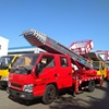 Red JMC 28m aerial ladder lift truck for moving house,curtain wall construction,moving concrete and sand ladder truck
