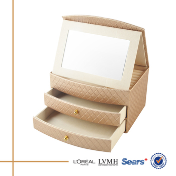 Home Multifunction Eco Friendly Jewelry Box Drawer Storage With Folding Mirror
