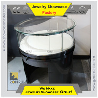 Black 304 stainless steel tempered glass used jewelry showcase for sale