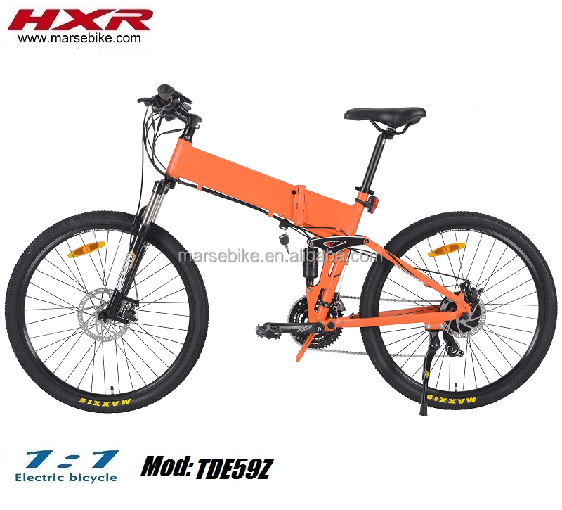 26-27.5 inch full suspension China mountain folding electric bicycle