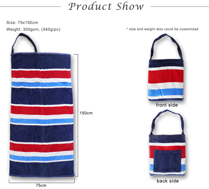 wholesale 100% cotton custom printed towel bag beach
