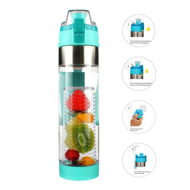 Hot selling Infusion Pro Premium BPA Free Tritan <strong>Sports</strong> Drinking Plastic Fruit Infuser Water Bottle Flip top lid ith spout