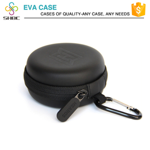 Black Color Rectangle Shaped Hard Earphone Headset EVA Case for MP3/MP4 Bluetooth Earphone Earbuds with Mesh Pocket, Zipper Encl
