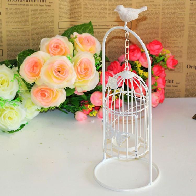 Resina de aves jaula continental hierro candelabro vela regalos ...