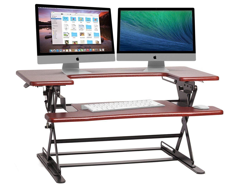 """Tobbi 36"""" Brown Ergonomic Height Adjustable Standing Desk Sit Stand Desk Top Desk Riser Stand Workstation"""