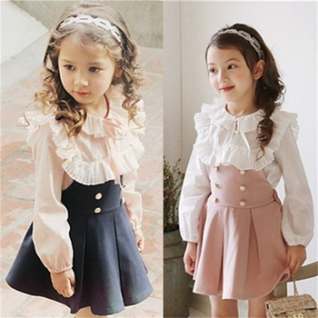 Kids Clothes Stock Two Piece Outfits Baby Girl Elegant Dress Sets Blouse And Suspender Skirt