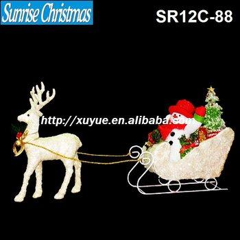 2012 nieuwe 3d sprankelendegouden kerst rendier met slee licht kerstversiering buiten moq