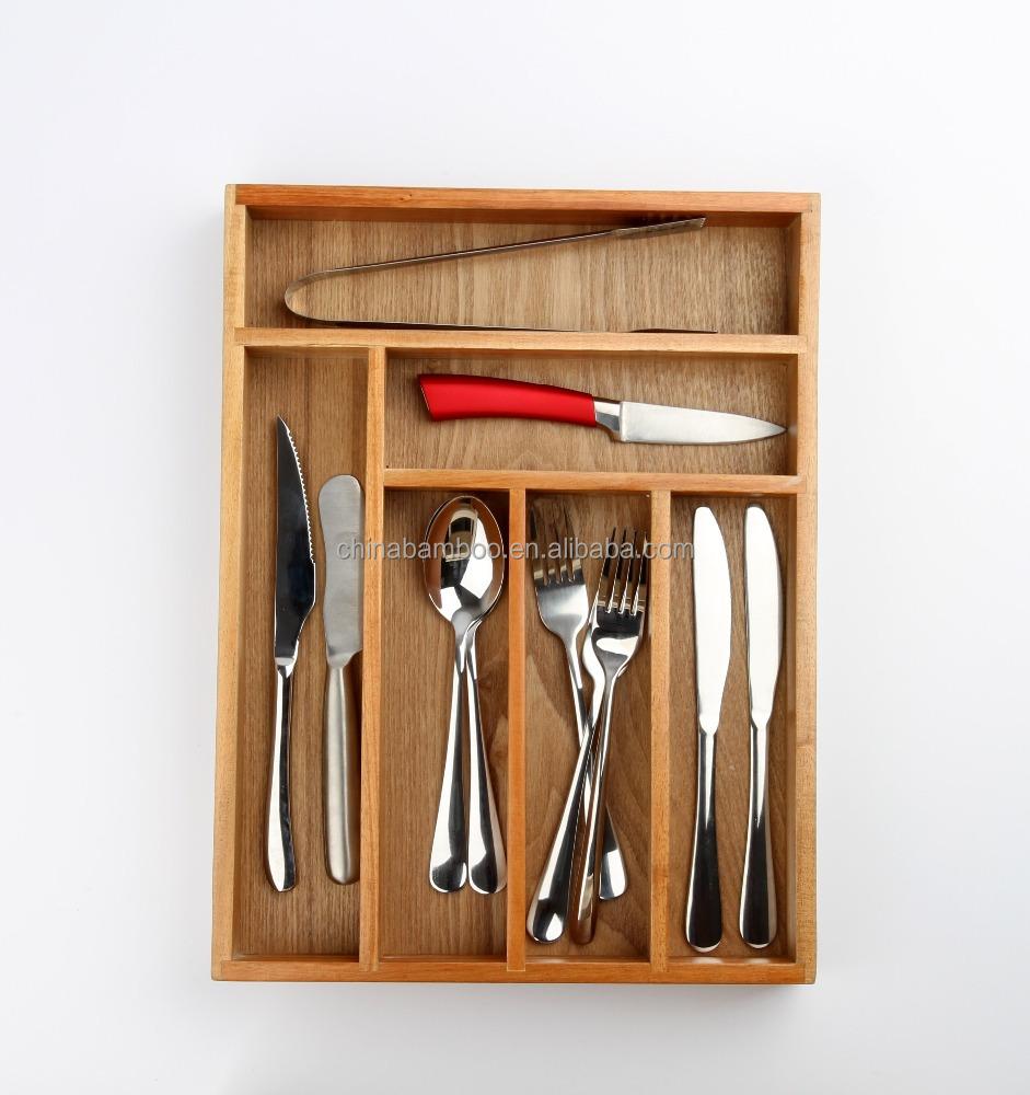 Keuken verstelbare verbruiks bamboe lade organizer, keuken houten ...