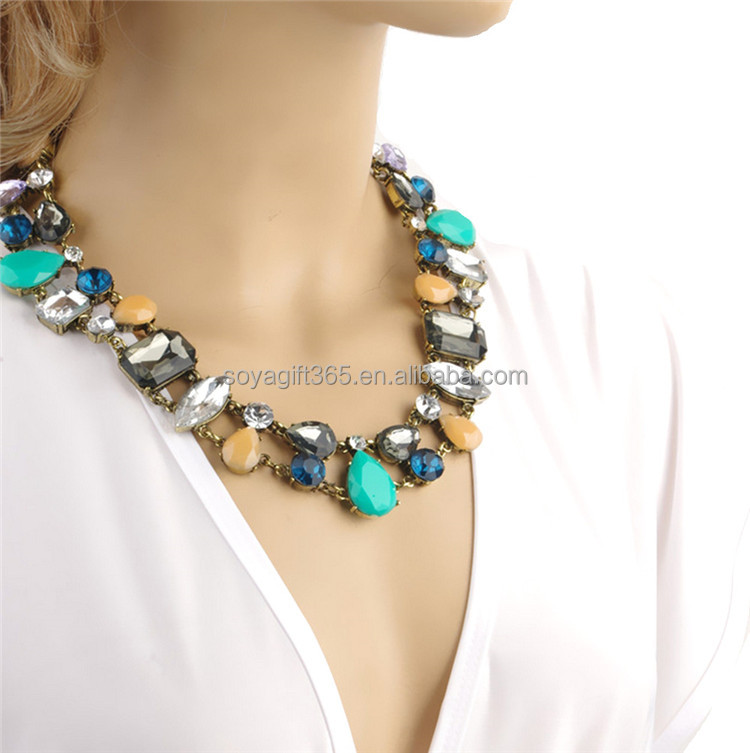 Colorful Multi shape Gems Rhinestones Clavicle Chain short Necklace
