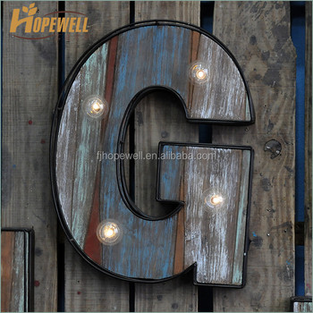 Decoration Metal Alphabet Led Letter G Wall Decor Whole