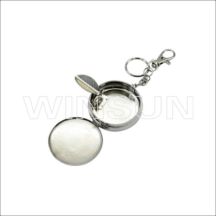 Portable keychain metal pocket ashtray with lid