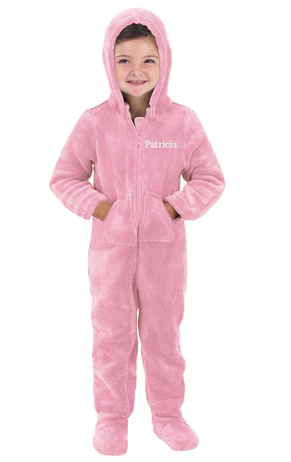 e928865568 Get Quotations · PajamaGram Personalized Toddlers  Hoodie-Footie Fleece Onesie  Pajamas