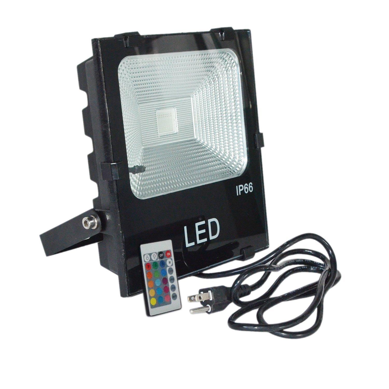 HKBAYI 50W Super Bright RGB Outdoor LED Flood Lights AC85-265V waterproof IP65 Floodlight Spotlight Security Lights Street Lamp with US Plug 2 Years Warranty