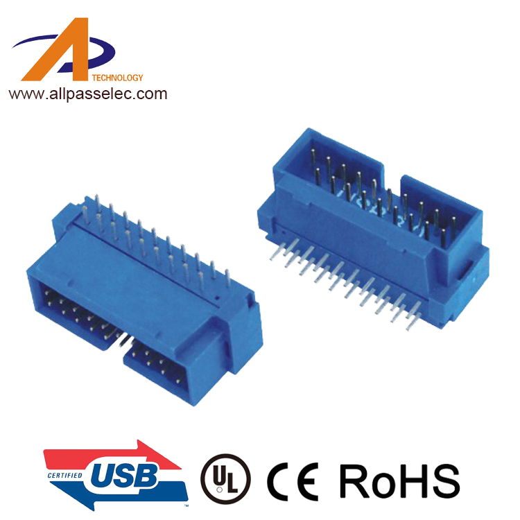 Blue/Black UBS 3.0 IDC 19 Pin male 90 Degree IDC Box Header connector