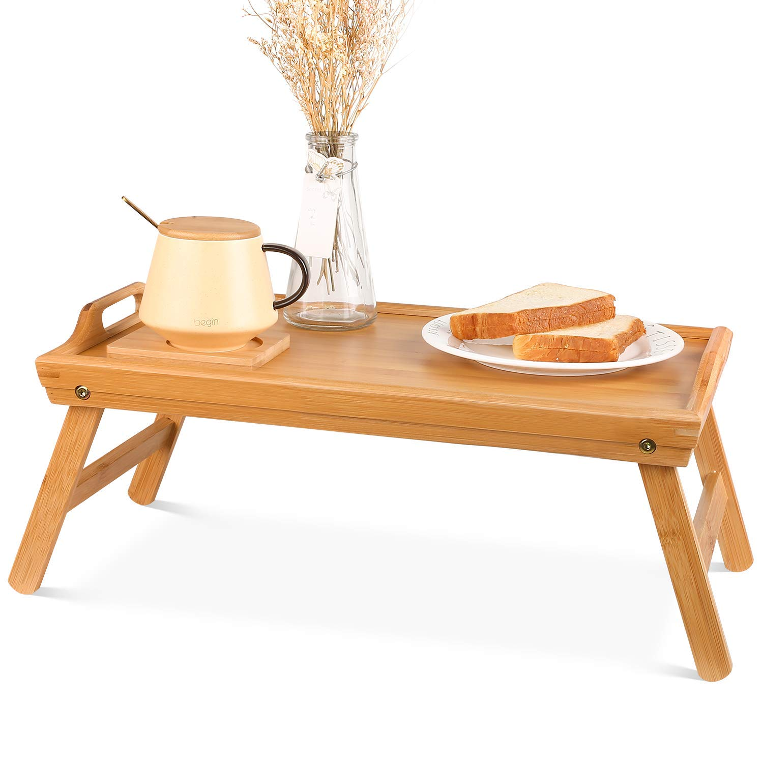 Natural Bamboo Serving Tray Set Bed Tray Breakfast Table With Legs Bamboo Tray Serving 3