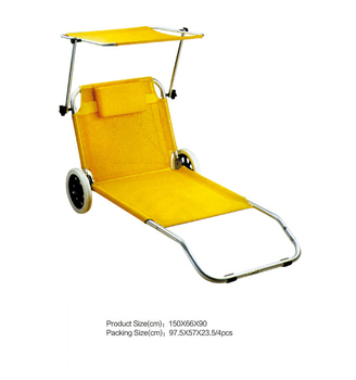 New Comfortable Single Folding Chairs Outdoor Deck Chair With Wheel