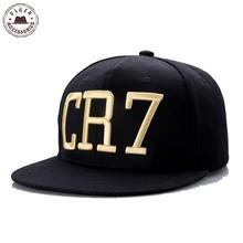 Nové Cristiano Ronaldo CR7 černé kšiltovky hip hop sportovní Snapback čepice unisex plochý okraj čepice nastavitelná [HUB021]