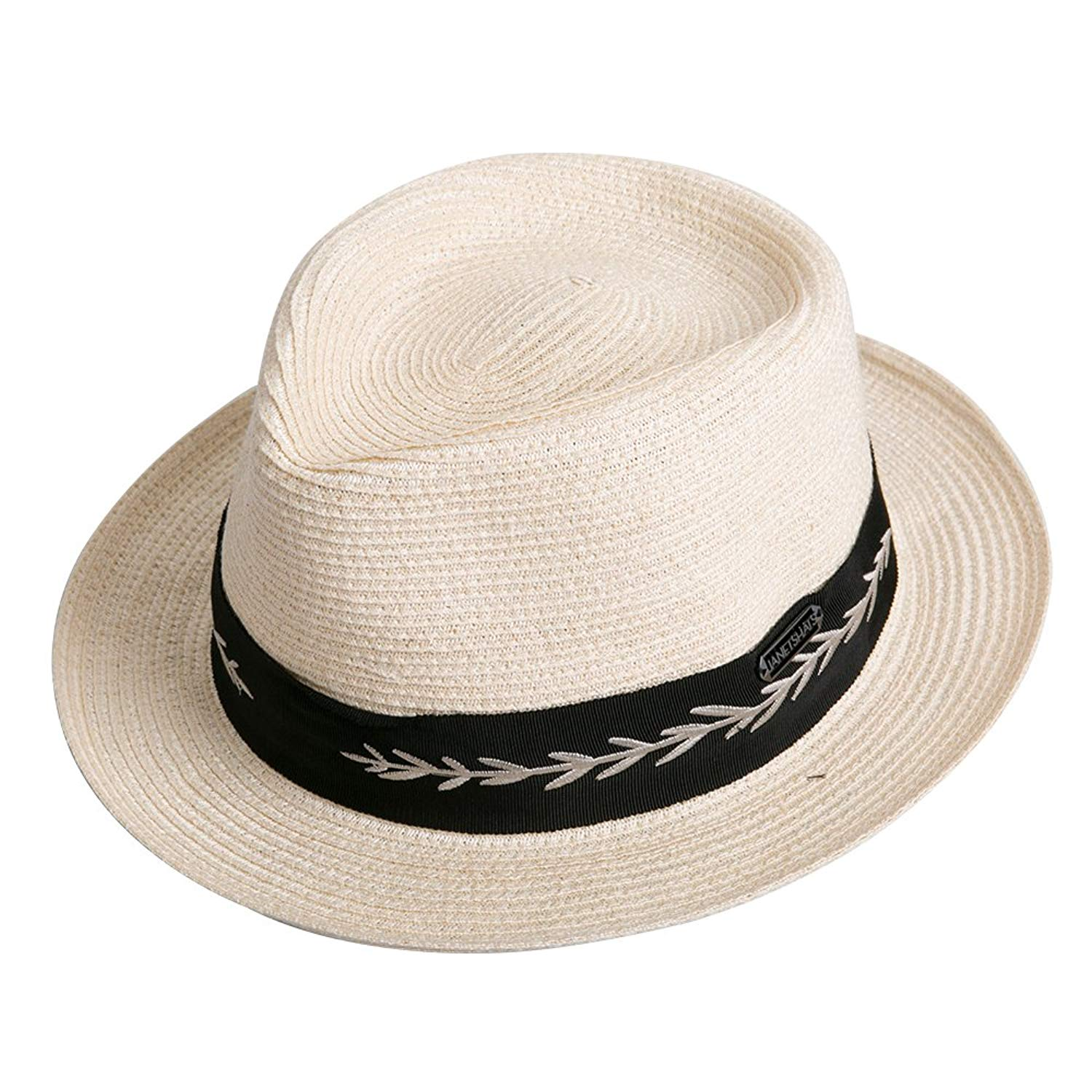 020426d85ba Get Quotations · Janetshats Pork Pie Trilby Men Straw Hat Summer Hat  Foldable Soft Leaf Ribbon Trim
