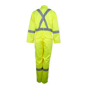 Custom one piece lime green reflective work uniforms