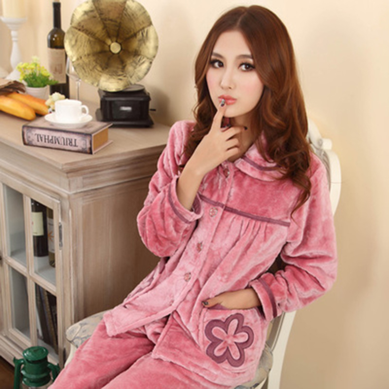... thickening flannel lounge set. 4.7. 2015 Autumn and winter coral fleece  pajamas women s long-sleeve plus size winter sleepwear thickening ... 25b0a84cd