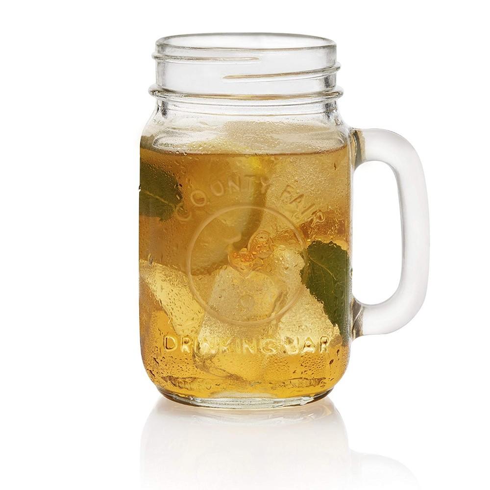 16 oz de venta al por mayor personalizado en relieve mason frasco de vidrio mason jar