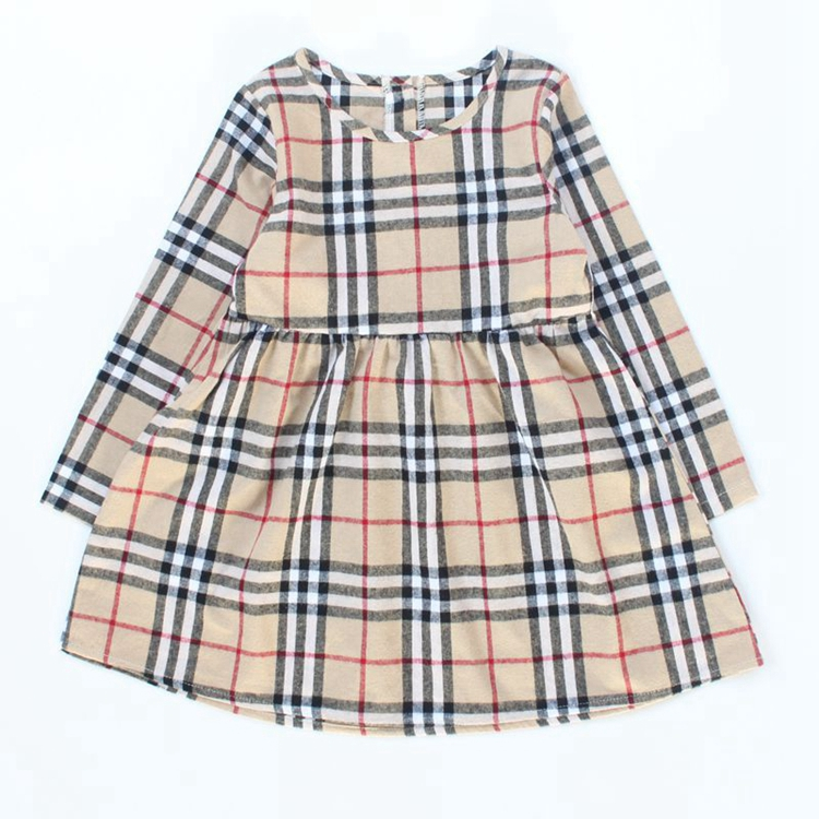 Long sleeve dresses cotton plus size fall printed plaid children clothing dashiki kids girls dress