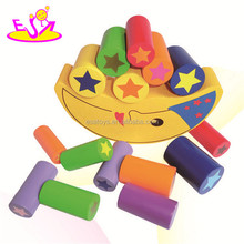 Wooden balance intelligence DIY block toy for kid,Wooden moon balance building block toy,color moon block toy W11F031